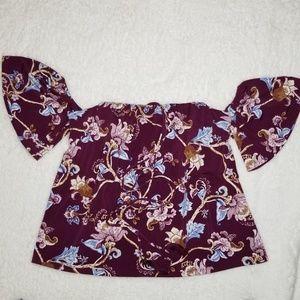 NWT WHBM Burgundy Floral Cold Shoulder Halter